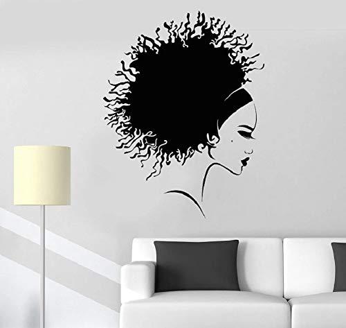 Vinilo Pared Peinado Afro Hermosa Chica Negra Barbera Art Deco
