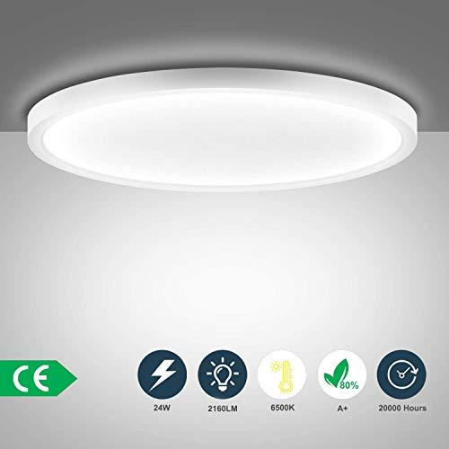Ouyulong LED Deckenleuchte 24W 6500K 2160LM, Für Wohnzimmer,Schlafzimmer,Balkon -Super helle Deckenleuchte, Deckenleuchte Wohnzimmer Weiß 230×230×23 mm[Energieklasse A+]
