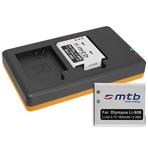 2 Batterie + Caricabatteria doppio (USB) per LI-90B LI-92B / Olympus Stylus SH-1, SH-2, SH-50, SH-60 / SP-100EE / XZ-2 / Tough TG-… - v. lista (Cavo USB micro incluso)
