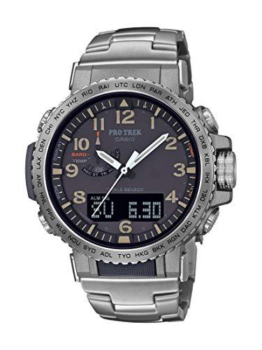 Casio Relógio esportivo masculino Pro Trek de aço inoxidável com pulseira de titânio, prata, 22 (modelo: PRW-50T-7ACR)