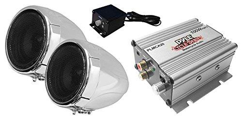 Pyle Motorcycle Two 3 Inch Speakers, 50 Watt, All-Terrain, Weatherproof Speaker and Amplifier...