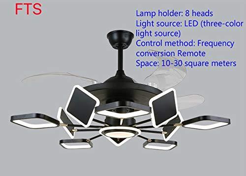 OUPPENG Lámpara de Ventilador Sala de estar moderna invisible ventilador luz nórdica minimalista LED inversor de estudio Sala de estudio Lámpara de fanático de la bandera de la cordillera de la bander