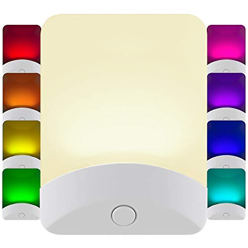 GE Color-Changing LED Night Light, Plug-in, Dusk-to-Dawn, Home Dcor, Great for Kids, Ideal for Bedroom, Bathroom, Nursery, Kitchen, Basement, White Base, 34693