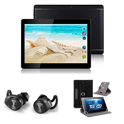 10.1' Android 8.0 Tablet Bundle. includes, Tablet, Earbuds, Leather Case (Black)