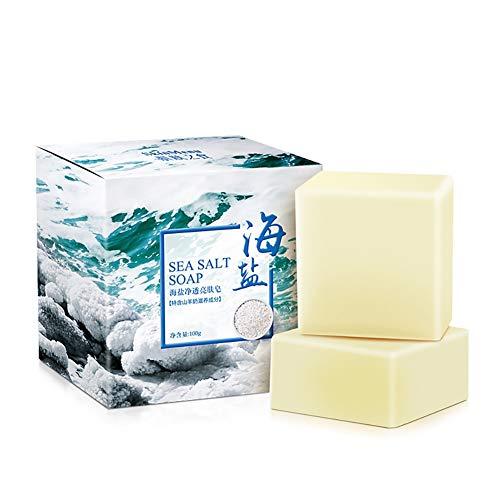 Beito Jabón De Sal De Mar 1PC Hidratante Hecha a mano Sea Salt Soap Jabón de leche de cabra orgánico Exfoliante y piel Jabón natural de limpieza profunda para TODAS las afecciones de la piel