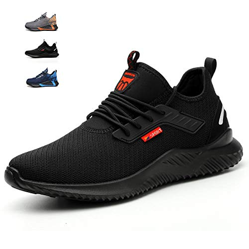 ulogu Work Shoes Steel Toe Safety Construction for Men Breathable Sneakers, Women Lightweight Non Slip Outdoor Comfortable Tennis Hiking Running Shoes Black/Red