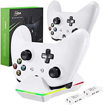 CVIDA Dual Controller Charger for Xbox One w/2 Rechargeable Battery Packs