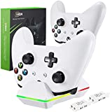 Controller Charger for Xbox One, CVIDA Dual Xbox One/One S/One Elite (Not For Xbox Series X/S 2020) Charging Station with 2 Rechargeable Battery Packs for Two Wireless Controllers Charge Kit– White