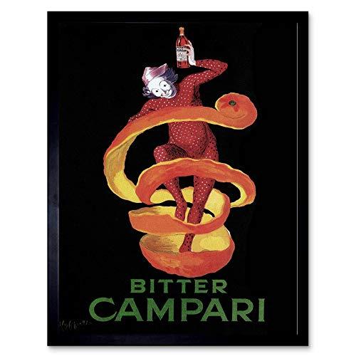 Wee Blauwe Coo Advert Campari Bitter Pierrot Harlequin Alcohol Voedsel Frankrijk Art Print Ingelijste Poster Muurdecoratie 12X16 Inch