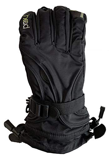HEAD Junior Kids Unisex Boy's & Girl's Snow Ski Winter DuPont Sorona Gloves w/Pocket (BLACK, L(10-14))