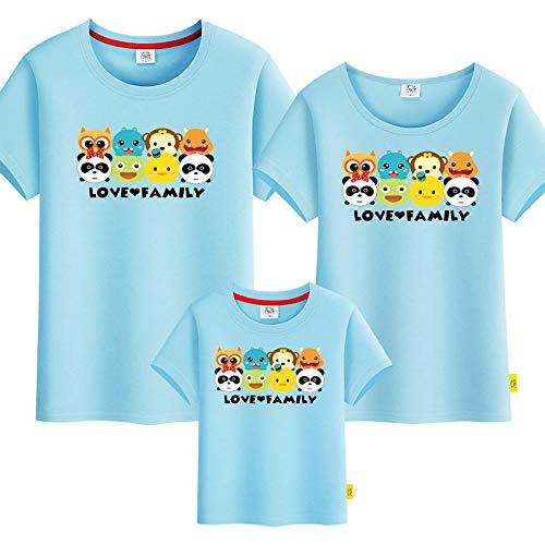 SANDA Sudadera Madre E Hija,Camiseta para Padres e Hijos Ropa de Verano para Padres e Hijos 2020 Nueva Ropa Familiar Ropa Familiar de Manga Corta con Estampado de Animales-Azul_Mam M