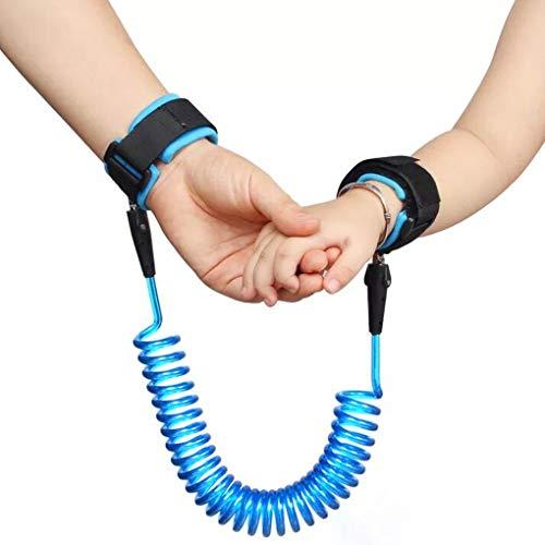 2,5 m Anti-Verlust-Handgelenk-Gürtel, um 360 ° drehbar, elastisches Drahtseil für Baby- und Kleinkind-Zügel, Sicherheitsleine, Handgeschirr für Spaziergänge und Reisen im Freien (blau)