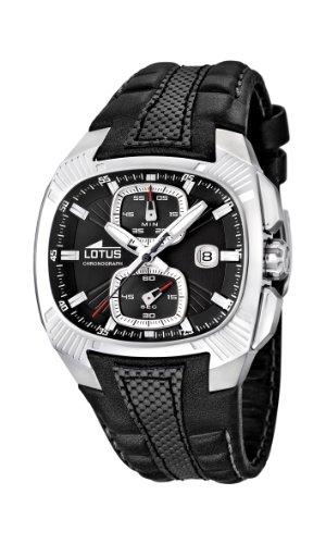 Lotus 15753/2 - Reloj analógico de Cuarzo para Hombre, Correa de Cuero Color Negro (cronómetro)