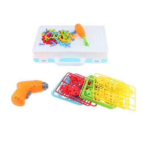 perfk 1 Juego de Bloques de Construcción de Juguete de Rompecabezas de Mosaico con Serie de Destornilladores para Niños Juego Educativo Temprano