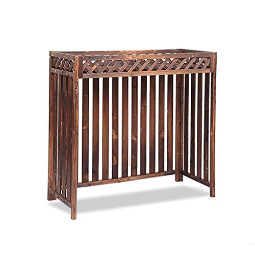 Scaffale in legno massiccio per condizionatore d'aria, tende ispessite per piante, per esterni, per interni, condizionatore d'aria per la privacy, colore: marrone