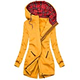 FantaisieZ - Abrigo de plumas para mujer, con capucha, cálido, de peluche, abrigo de invierno, abrigo largo con capucha