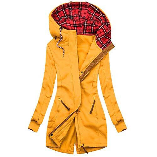 Auifor Damen Kapuzenpullover, Sweatshirt mit Reißverschluss,Herbst Winter Hoodie Kapuzenjacke Sweatjacke lang Mantel Jacke Mit Kapuze Lange Gefüttert(E-Gelb,X-Large)