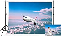 写真撮影のためのHD航空機の背景7x5ft青空白い雲写真の背景パーティー写真スタジオ撮影小道具LYFS109