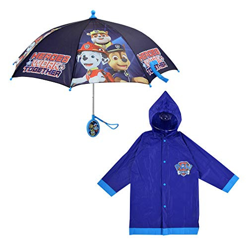 Nickelodeon Paw Patrol Slicker and Umbrella Rainwear Set, for Toddler and Little Boys, Dark Blue, SMALL, AGE 2-3