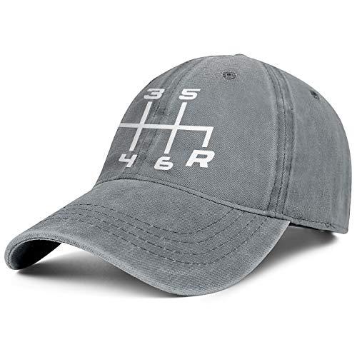 Unisex 6 Speed Manual Transmission Shift Pattern Cowboy Hats Adjustable Sun Caps