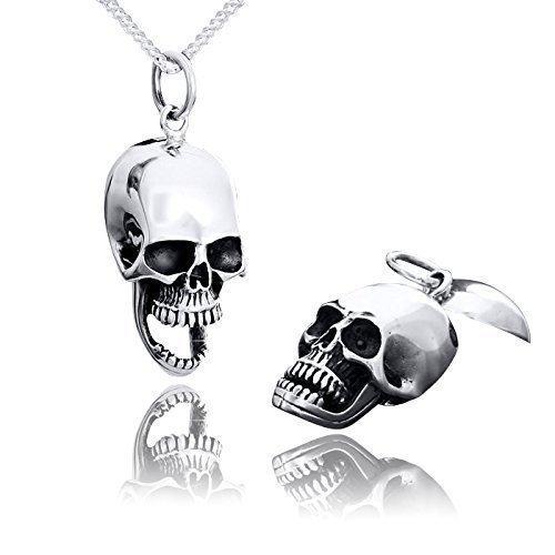 MATERIA Totenkopf Anhänger für Halskette gothic antik - 925 Silber Medaillon Schädel hohl und aufklappbar #KA-82