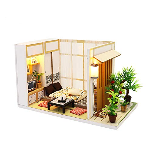 WYD DIY Doll House Miniature Furniture Assembly Cottage Manufacturers Custom, Wooden Doll House Kit Plus Dustproof Creative Room for Girlfriend