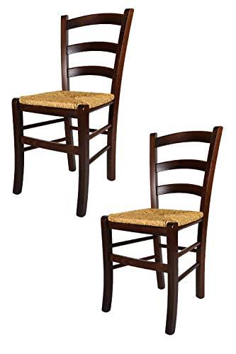 Tommychairs - Set 2 sillas Venezia para Cocina y Comedor, Estructura en Madera de Haya Color Nuez y Asiento en Paja