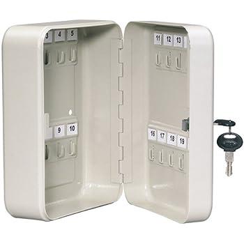Armario de llaves de seguridad, ganchos para 20, caja de seguridad de metal con cerradura: Amazon.es: Hogar