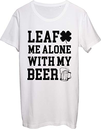 Leaf Me Alone with My Beer Please Leave Me Shamrock Pun - Camiseta para hombre