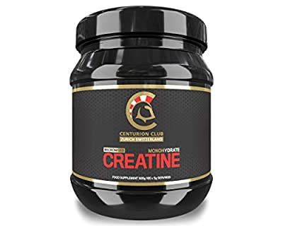 Centurion Club Nutrition Micronised Creatine Monohydrate Powder Supplement - Unflavoured, Single-Ingredient Formula with No Calories or Sugar, 500 Grams (100 Servings)