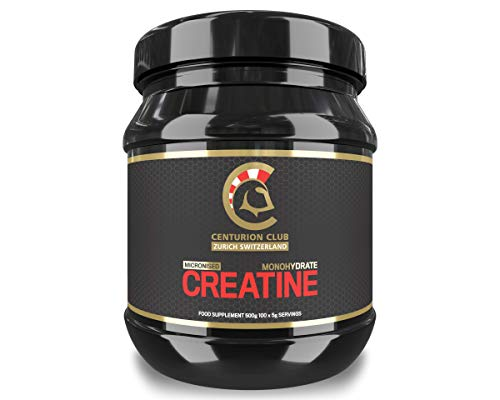 Centurion Club Nutrition Micronised Creatine Monohydrate Powder Supplement – Unflavoured, Single-Ingredient Formula with No Calories or Sugar, 500 Grams (100 Servings)