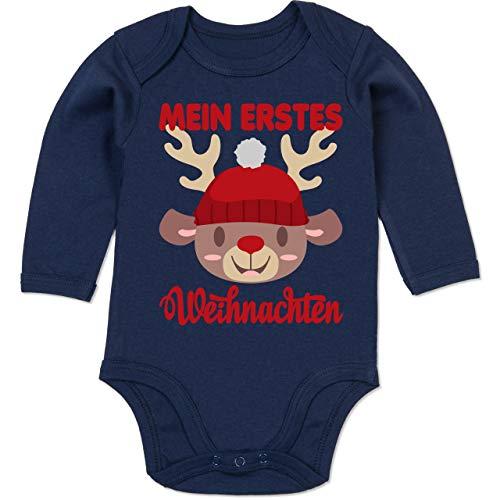 Shirtracer Weihnachten Baby - Mein erstes Weihnachten mit Rentier - 12/18 Monate - Navy Blau - Christmas Baby Body - BZ30 - Baby Body Langarm