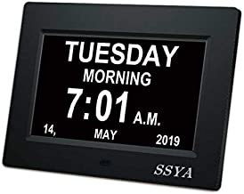 SSYA [Newest Version] Day Clock - 12 Alarm Options, Level 5 Auto Dimmable Display,Extra Large Impaired Vision Digital Clock with Non-Abbreviated Day & Month Alarm Clock (7 inch)