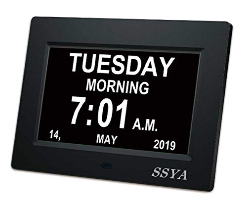 SSYA [Newest Version] 7 Inch Day Clock - 12 Alarm Options, Level 5 Auto Dimmable Display,Extra Large Impaired Vision Digital Clock with Non-Abbreviated Day & Month Alarm Clock (7 inch)