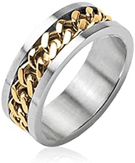 Ring Cuban Link Chain Multicolor Stainless Steel Men Women Unisex Wedding Band