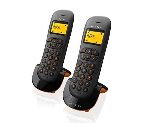 Alcatel C250 Dúo- Telefono Inalámbrico, Color Negro y Naranja
