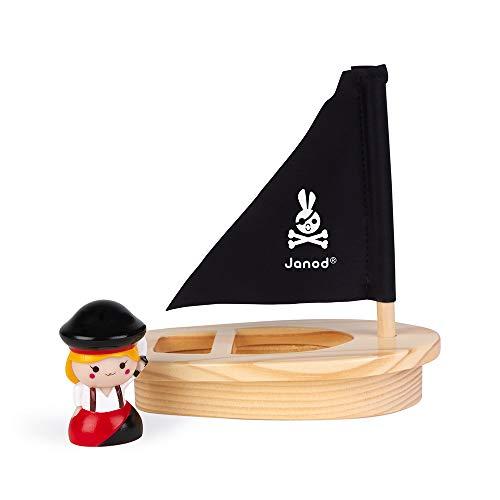 Janod - El Capitán Melo y Su Barco - Juguete de Baño para Niños Pequeños - Lanzachorros Incluido - A partir de 1Año, J04711