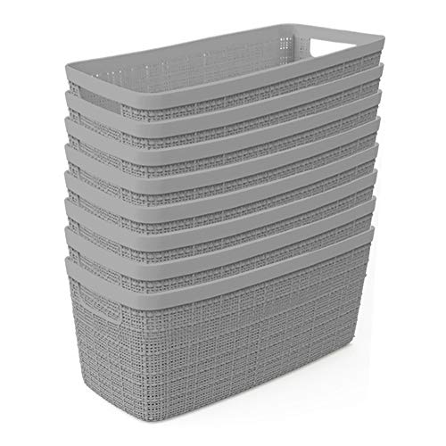 Curver Set of 8 - Perfect Bins for Home Office, Closet Shelves, Kitchen Pantry and All Bedroom Essentials Jute Half Medium Decorative Plastic, Grey