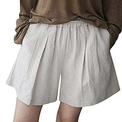 RAINED-Women Casual Linen Shorts Cotton Wide Leg Pocket Elastic Waist Loose Solid Shorts Loose Beach Shorts