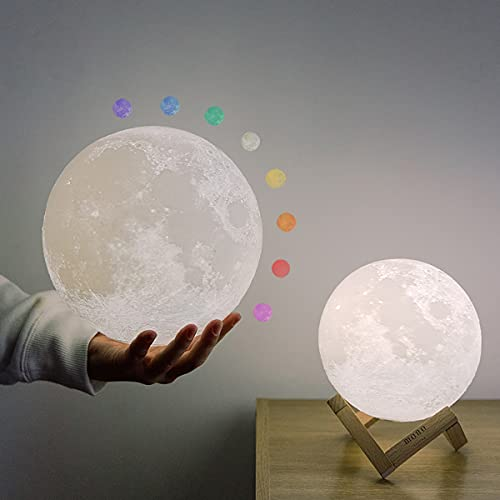 """Moon Lamp 4.7"""", mono living, LED Moon Night Light with Stand Remote Control, House Warming Gifts, Cute Gifts for Women, Things for Teen Girls Room, Nursery Birthday Boyfriend Girlfriend"""