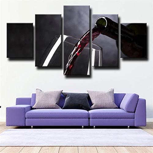 Pintura sobre Lienzo - 5 pieza150x80cm(60' W x 32' H) Verter Copa de Vino Negro Modernos Dormitorios Murales Pared Lona XXL Grande Hogar Cuadros Decora Salón-Sin Marco
