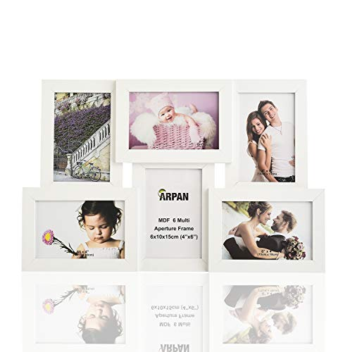 ARPAN Collage Múltiples Fotos 6 Fotos en Madera de 4 x 6 Pulgadas, Marco de Montaje de Pared MDF (Blanco)