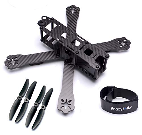 Readytosky QAV-R 220mm FPV Racing Drone Frame 5 inch Carbon Fiber Quadcopter Frame Kit 4mm Arms with 5030 Props and Lipo Battery Straps