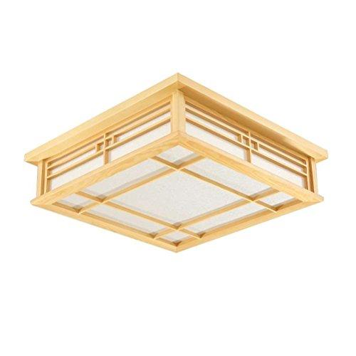 GQLB Luz de techo japonés madera maciza lámparas LED Lámparas de luz de tatami japonés Salón Dormitorio Balcón registros coreano luz 350 * 350 * 100mm, luz blanca