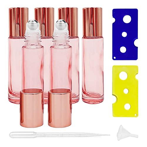 Ätherische Öle Roller Flaschen,6 Stück Glasflaschen für ätherische Öle,10ml Roller Flaschen Glas Roll-on Flaschen,Glasflaschen Glasroller,Glas Roll-On Flaschen,Roll On Glasflasche(Rosa)