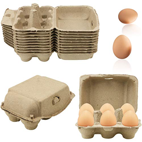 SKPPC 20 Pack Brown Empty Egg Cartons Pulp Fiber Egg Tray Holder, Each...