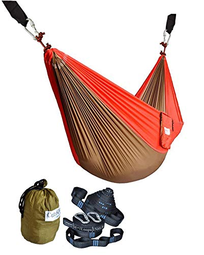 Cutequeen Double Nest Nylon Fabric Hammock with Multi Loops Tree Straps (Olive/Red)