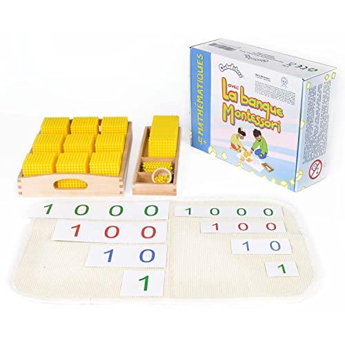 PACHA ECHECS® – Juego de Banco Montessori – Tablero Educativo para Aprender Matemáticas – Sistema decimal – Cálculo – Kit Completo con Perlas   Números y Cifras   Caja de Madera – A Partir de 4 Años