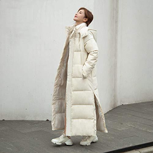 WEIYYY Chaqueta de Invierno X-Long para Mujer, con Capucha, Abertura Lateral, a Prueba de Viento, Abrigo de plumón, as Acolchadas de algodón de Gran tamaño, Beige, XXL RU50,52