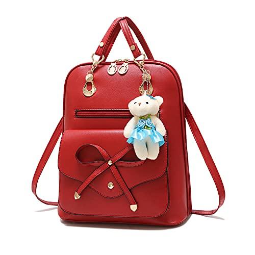 Syrads Borsa da viaggio casual da donna Borsa a tracolla da donna Zaino da scuola in pelle PU carino Daypack per ragazze,Vino rosso